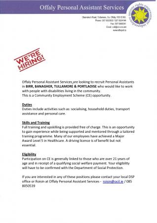 Personal Assistant CE Scheme Position